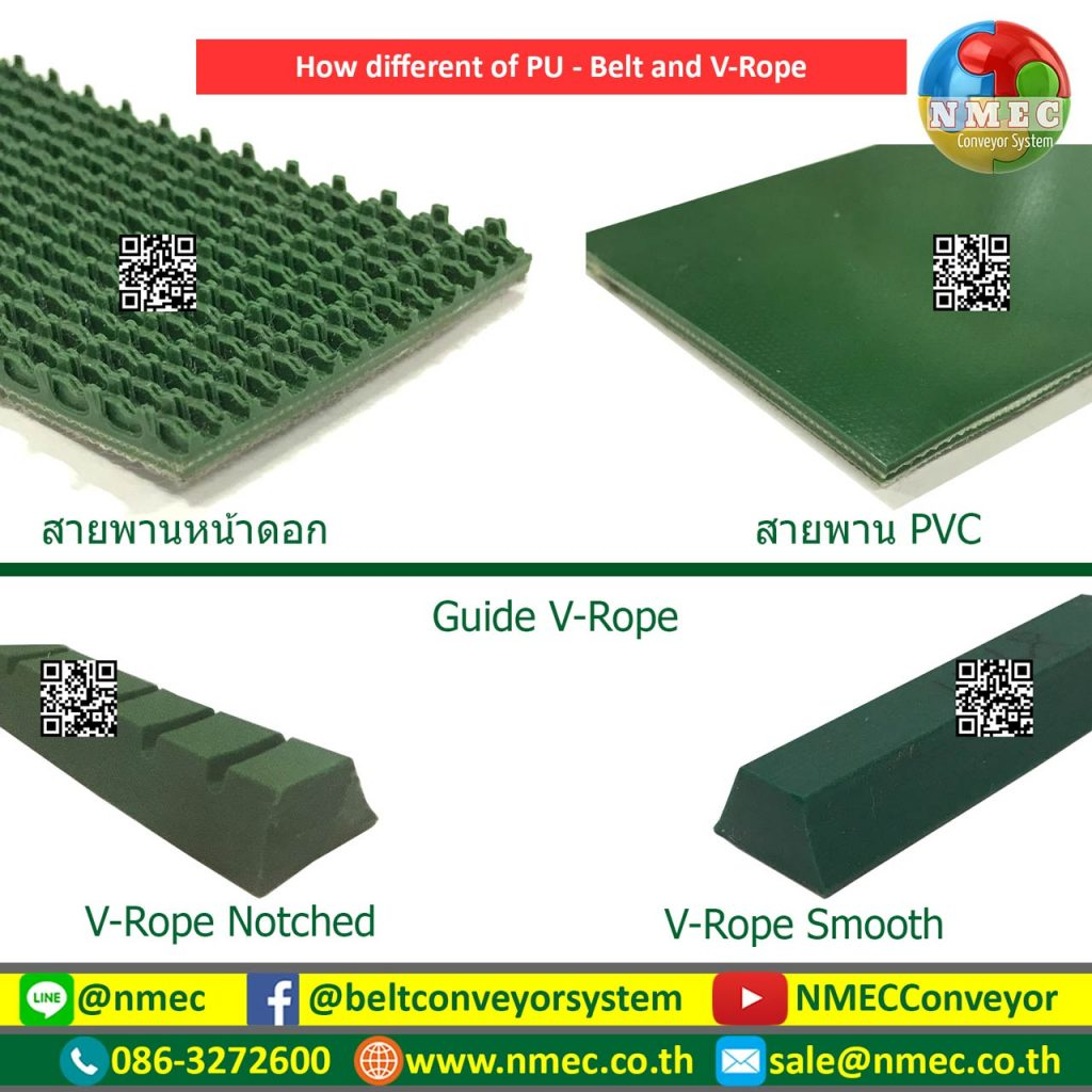 PVC and PU Belt with V Guide
